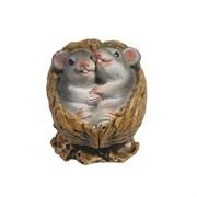 Фигурка декоративная Серые крыски в орешке (акрил) L5 W4 H4 см