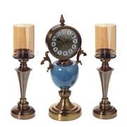 Часы настольные декоративные с подсвечниками, набор из 3-х предм., L24/12 W16/12 H50/43 см