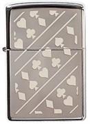 Широкая зажигалка Zippo Card Suits 150
