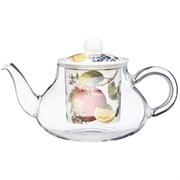 """Чайник стеклянный с фарфоровым ситом lefard """"Фрукты"""" 500 мл"""