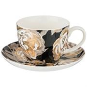 """Чайный набор """"Golden rose"""" на 1 персону 2пр 450 мл , черный"""