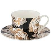 """Чайный набор """"Golden rose"""" на 1 персону 2пр 240 мл , черный"""