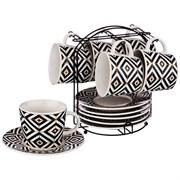 """Чайный набор на 6 персон 12 пр. на подставке коллекция """"Black & white"""" 220 мл"""