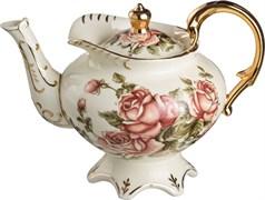 """Заварочный чайник """"Корейская роза"""" на ножке с золотыми ручками 800 мл"""