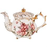 """Заварочный чайник на ножке с золотыми ручками """"Корейская роза"""" 1300 мл H= 16 см"""