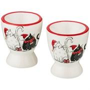 """Набор подставок под яйцо из 2  шт коллекция """"Party cats"""" 5,6*5,6*6,6 см"""