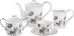 """Чайный сервиз """"Котики"""" на 6 персон 15 пр. 1000/200/350/400 мл H=16/6/10/11 см"""