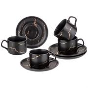 """Чайный набор на 4 персоны коллекция """"Золотой мрамор"""" объем чашки 250 мл цвет:black"""