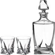 "Набор для виски ""Квадро"" 3пр.: штоф+2 стакана 850/400 мл H=27/10 см"