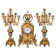 """Набор """"Каминный"""" 3пр.: часы кварцевые настольные 22*9*39 см циферблат 8 см + 2 подсвечника 22*21*46"""