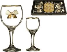 "Наб. на 6 персон 12 пр. ""Венеция"" с бантиками: 6 рюмок для водки 50 мл + 6 бокалов для вина 250 мл"