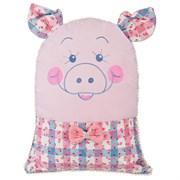 """Подушка декоративная  """"Хрюшка"""", 45*45 см ,розовый, 100% пэ, вышивка"""