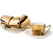 """Кофейный набор """"Leopard"""" на 4 персоны 8пр. 90 мл , золотой"""