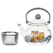 Чайник agness эмалированный с фильтром из нжс, серия озорные коты, 1,3л, подходит для индукц. плит