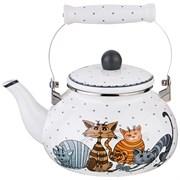Чайник agness эмалированный, серия озорные коты, 2,5л, подходит для индукцион. плит