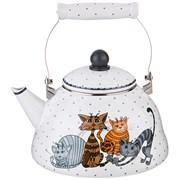 Чайник agness эмалированный, серия озорные коты, 3,0л, подходит для индукцион. плит
