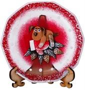 Тарелка стеклянная декоративная на подставке D=150. рисунок: символ года: собака на варежке на