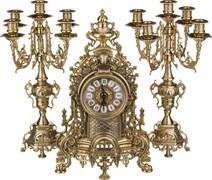 Комплект:часы каминные диаметр циферблата=11 см + 2 подсвечника H=42/42 см