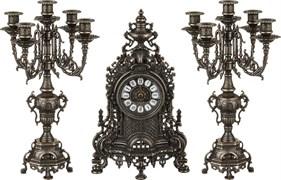 Комплект: часы каминные диаметр циферблата=11 см + 2 подсвечника H=40 см