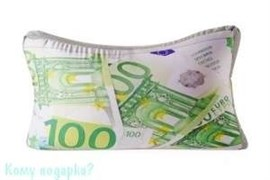 Подушка  объемная «100 Евро», 38х23х12 см