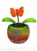 """Аксессуар для автомобиля """"Цветок"""" с бабочкой, оранжевый, 11x7x11см"""