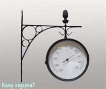 Часы с термометром на кронштейне, 31x34 см, d=20 см, черные