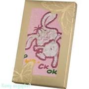 "Полотенце ""Зайка"", 40x70 см, 100% хлопок, розовый"