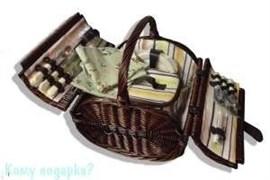 Корзинка для пикника на 4 персоны, медовая, тёмно-коричневая, 002