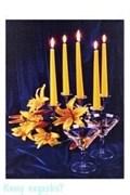 Картина с подсветкой «Свечи, Цветы, Мартини», 30х40 см