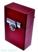 Портсигар, 9,5x6x3 см, красный, серебро