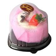 Полотенце-пирожное, 20х20 см, розовый, белый, с клубничкой