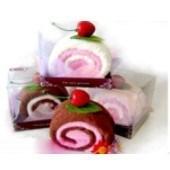 Полотенце-пирожное, 30х30 см, розовый, белый