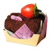 Полотенце-пирожное, 30х30 см, кофейный, с клубничкой