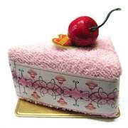 Полотенце-пирожное, 30х30 см, розовый, с вишенкой