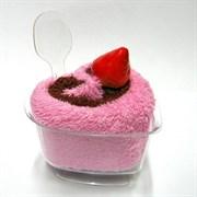 Полотенце-пирожное, 20х20 см, кофейный, розовый