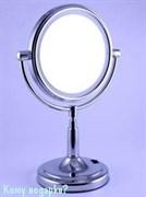 Зеркало настольное круглое, двухстороннее, 18 см, с подсветкой