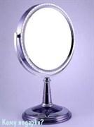 Зеркало настольное с кристаллами, двухстороннее, 20 см
