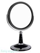 Зеркало настольное круглое «Black», двухстороннее, 18 см, с кристаллами