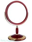 Зеркало настольное круглое «Red&Gold», двухстороннее, 18 см, с кристаллами