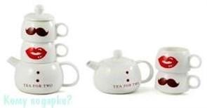 Набор для чая «Леди и Джентельмен», 20 см: чайник заварочный, 2 чашки
