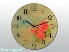 Настенные часы «Бабочка и розы»