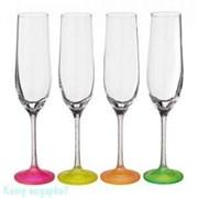 Набор бокалов для шампанского «Neon Frozen» 4 шт, 190 мл, h=24 см