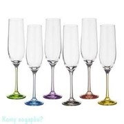 """Набор бокалов для шампанского """"Rainbow"""" 6 шт, 190 мл., h=24 см"""