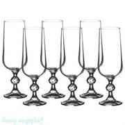 Набор бокалов для шампанского «Клаудия» 6 шт, 180 мл, h=17 см