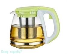Заварочный чайник с фильтром, 1400 мл, зеленая крышка