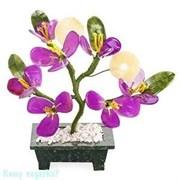 """Бонсай """"Цветы персика с монетами"""", h=17 см, фиолетовый"""