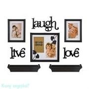 Подарочный фотонабор из 8-пр., темный,«Life, laugh, love»,  25x10, 16x21, 26x26 см