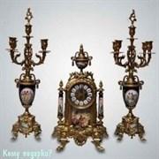 Набор для камина: часы, 23x42 см и два подсвечника, h=50 см