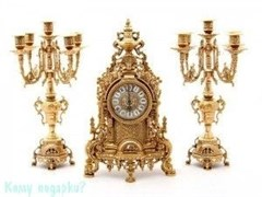 Комплект: каминные часы и 2 подсвечника, h=41 см