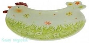 Тарелка под пасхальные яйца и кулич «Весенняя курочка»